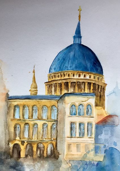 Nikolaikirche, Potsdam, Architektur, Aquarellmalerei, Aquarell
