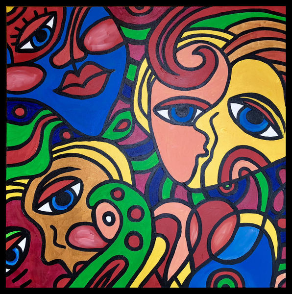 Abstrakt, Körper, Gesicht, Malerei