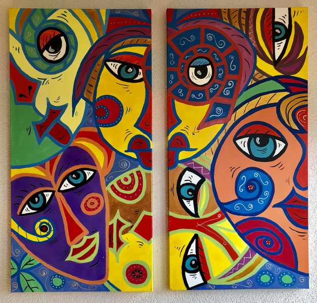 Frau, Malerei, Gesicht, Mann, Abstrakt