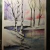 Waldsee, Entspannung, See, Aquarellmalerei