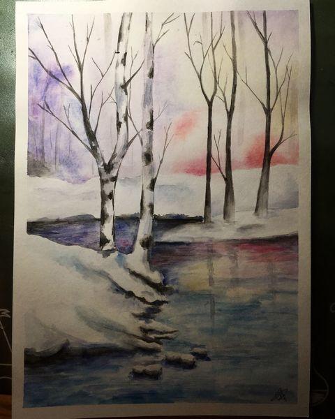 Schneelandschaft, Wald, Sanft, Winter, Natur, Waldsee