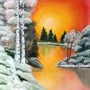 Natur, Sonnenuntergang, Ölmalerei, Malerei