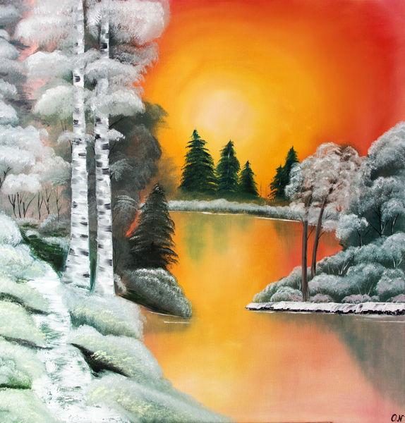 Natur, Sonnenuntergang, Ölmalerei, Malerei, See,