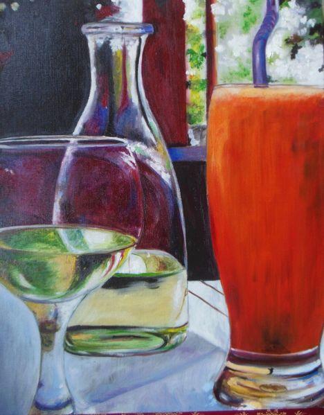 Wein, Glas, Gaststätte, Malerei