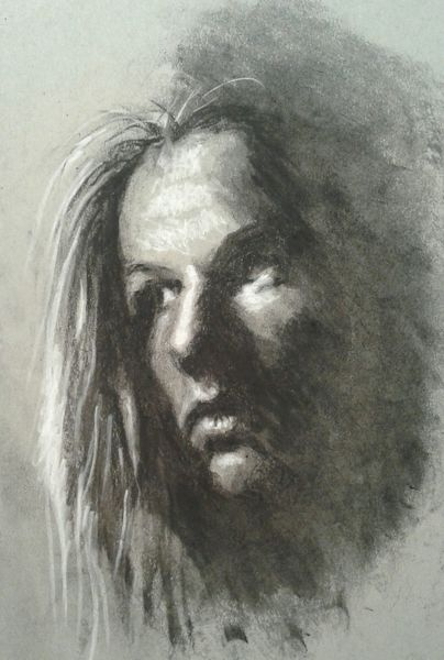 Kohlezeichnung, Strathmore, Selbstportrait, Zeichnungen, Schnell