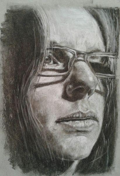 Selbstportrait, Kohlezeichnung, Strathmore, Zeichnungen