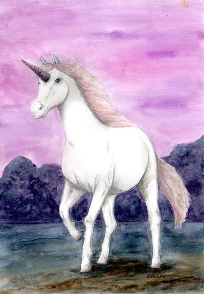 Mystik, Mythologie, Magie, Rosa, Einhorn, Pferde