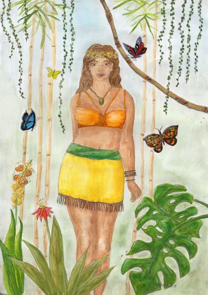 Göttin, Frau, Urwald, Zeichnung, Spirituell, Aquarellmalerei