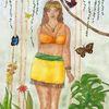 Frau, Göttin, Zeichnung, Urwald