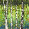 Birken, Landschaft, Acrylmalerei, Wasser
