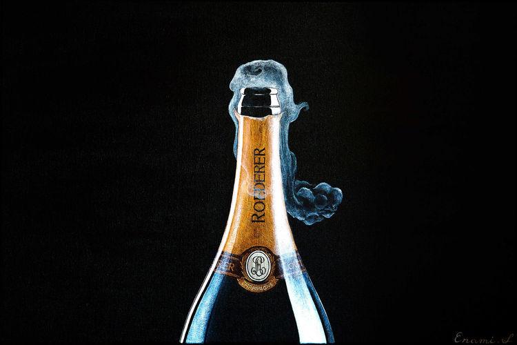 Weinflasche, Champagner, Luxus, Sekt, Acrylmalerei, Wein