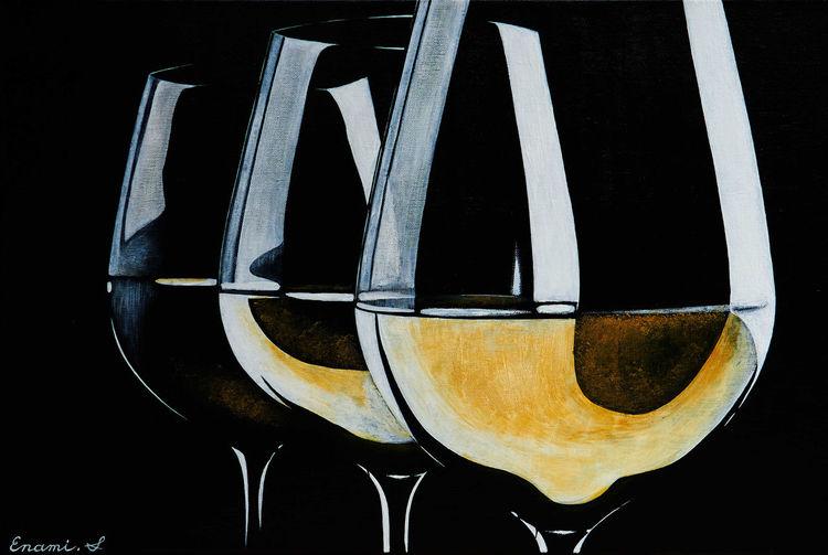 Weißwein, Schwarz, Weinglas, Acrylmalerei, Wein, Malerei