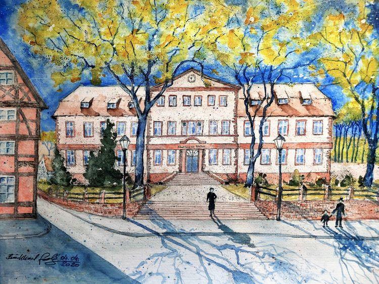 Architektur, Frühling, Verwaltungsbauten, Fachwerk, Höxter, Weserbergland