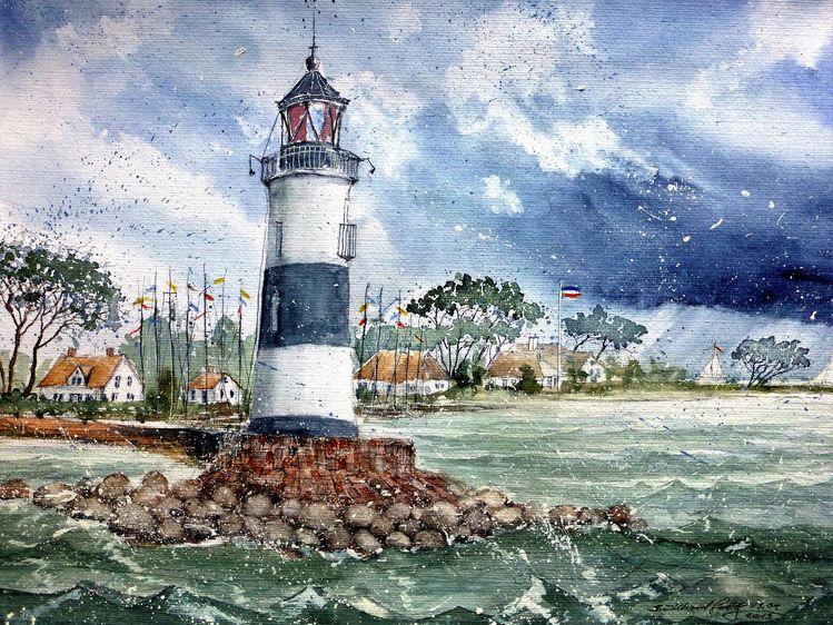 Norddeutschland, Leuchtturm, Schleimündung, Ostsee, Aquarell