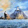 Isle, Leuchtturm, Aquarellmalerei, Highlands