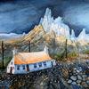 Aquarellmalerei, Isle, Insel, Felsen