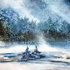Erzgebirge, Schnee, Aquarellmalerei, Winter