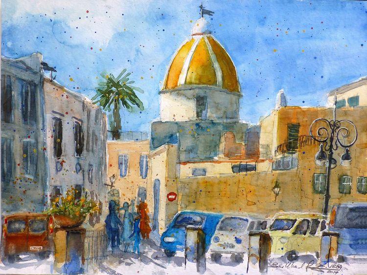 Aquarellmalerei, Forio, Kirche, Ischia, Italien, Golf von neapel