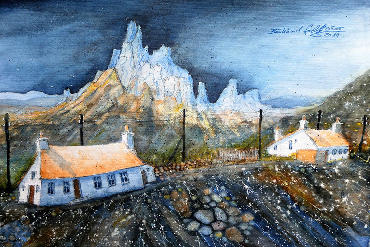 Insel, Aquarellmalerei, Felsen, Landschaft, Schottland, Highlands