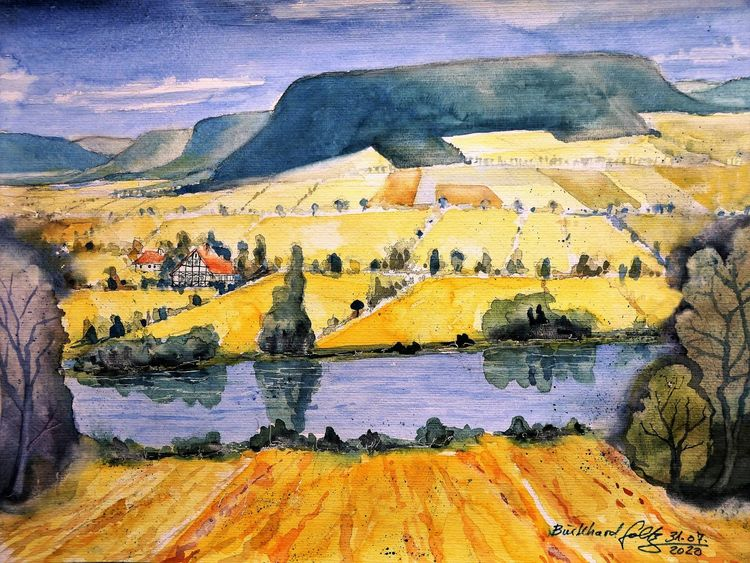 Europa, Aquarellmalerei, Flusslandschaft, Sommer, Einsamkeit, Weserbergland