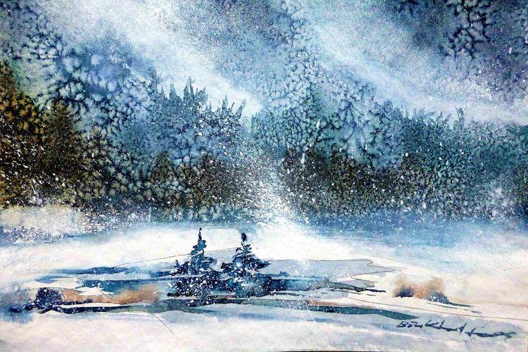 Aquarellmalerei, Winter, Sachsen, Erzgebirge, Schnee, Aquarell