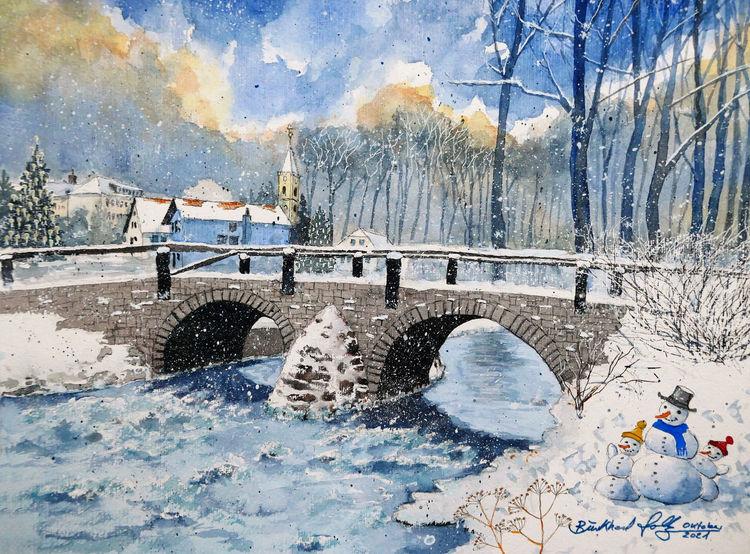 Wintertag, Winter, Schnee, Niederbobritzsch, Erzgebirge, Brücke