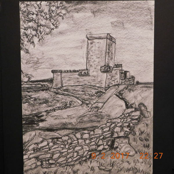 Burgszene, Kohlezeichnung, Naturnahe landschaft, Zeichnungen