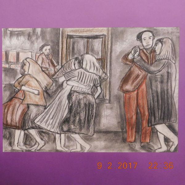 Rötelstudie, Dorfszene, Folkloremotiv, Zeichnungen