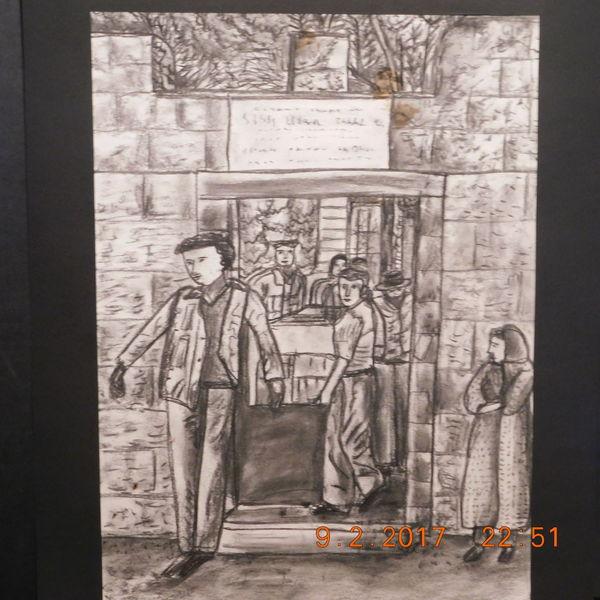 Dorfszene, Straßenszene, Zeichnung, Zeichnungen
