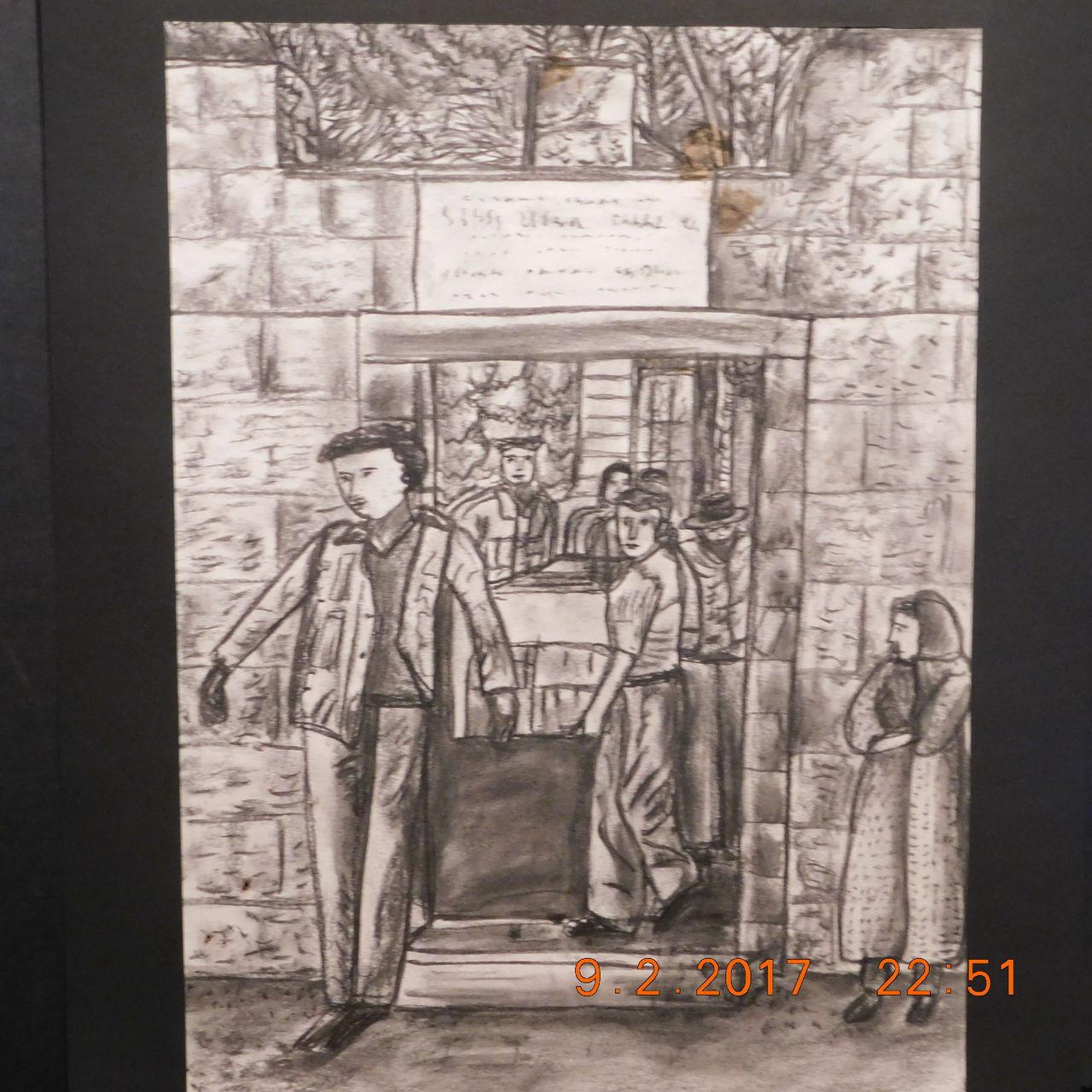 Bild: Dorfszene, Straßenszene, Zeichnung, Zeichnungen von ...
