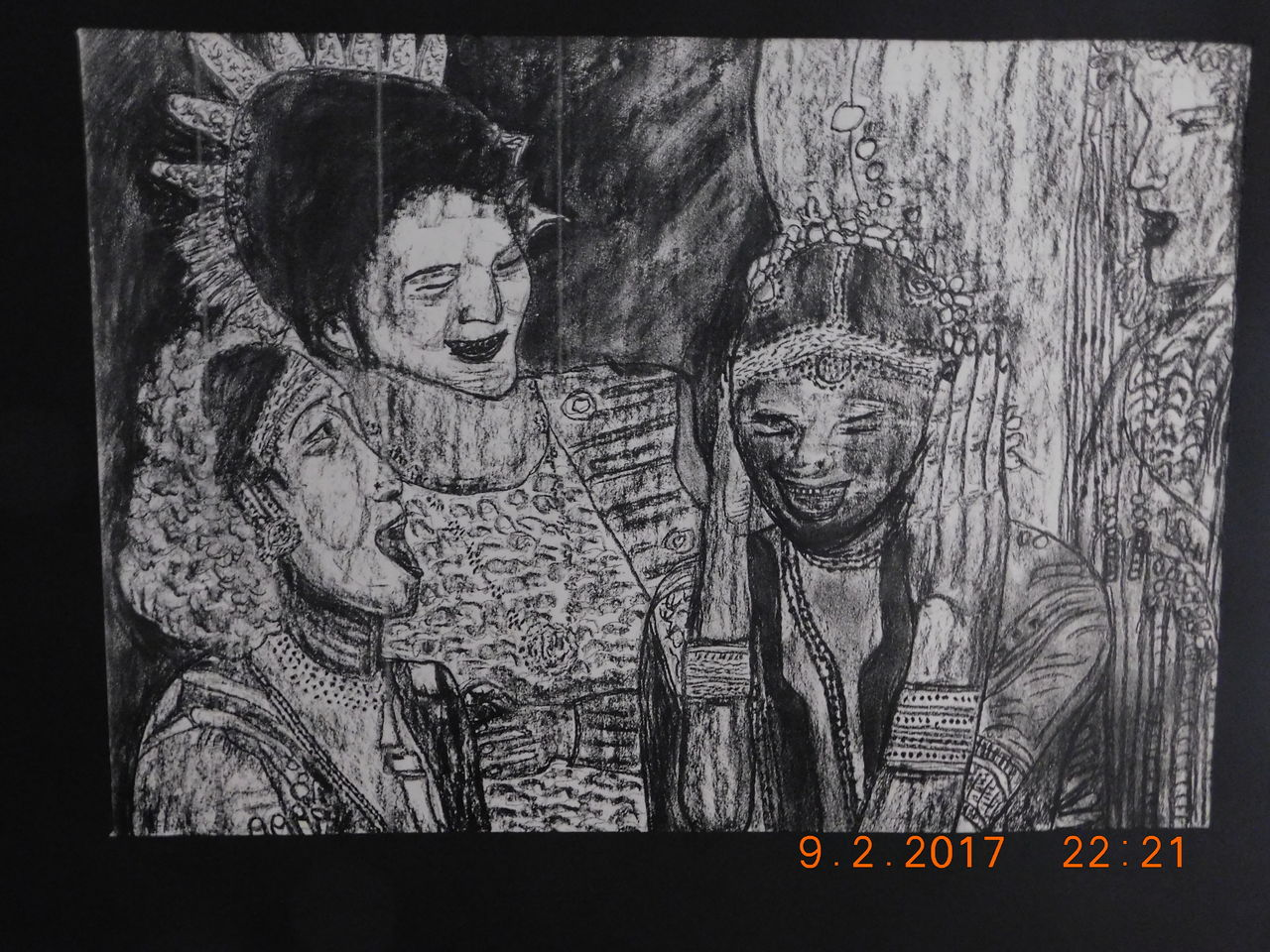 Bild: Zeichnung, Folkloristische strassenszene, Kostümparade ...