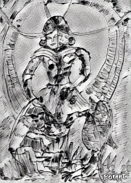 Zeichnung, Tarotmotiv, Mischtechnik, Digitale kunst
