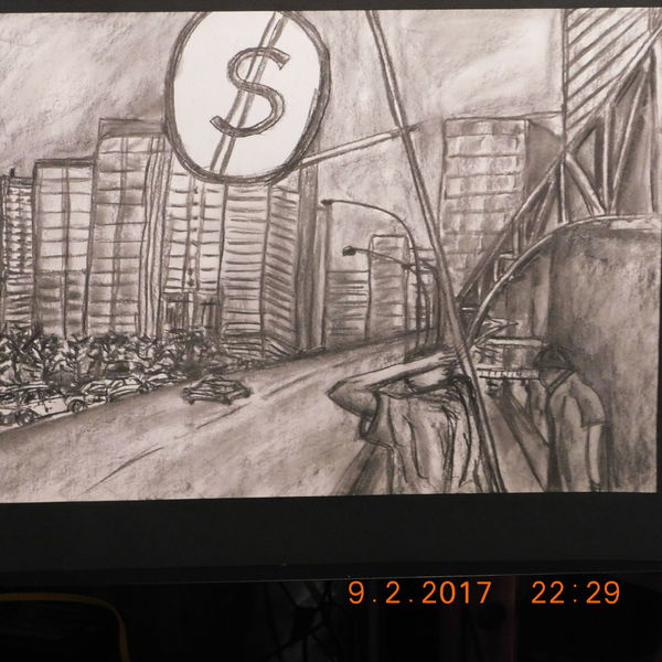 Straßenszene, Stadtlandschaft, Zeichnung, Zeichnungen