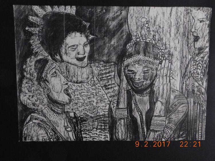 Zeichnung, Kostümparade, Folkloristische strassenszene, Zeichnungen