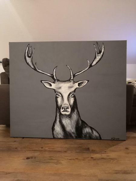 Hirsch, Natur, Silber, Tiere, Malerei