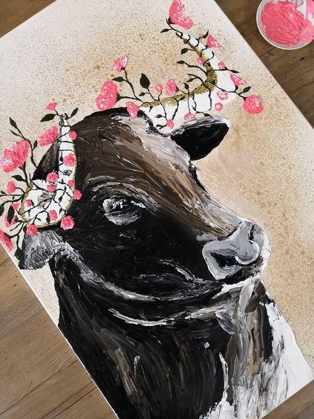 Farben, Acrylmalerei, Tiere, Rosa, Blumenkranz, Stier