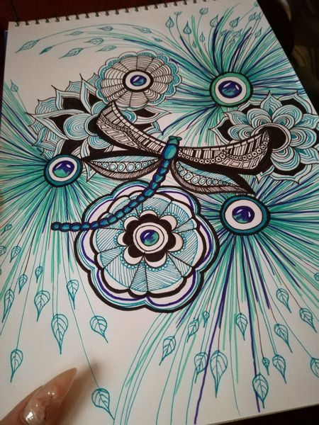 Blau, Libelle, Zeichnungen,
