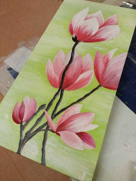Frühling, Magnolien, Rosa, Malerei