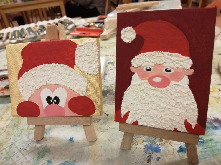 Weihnachtsmann, Acrylmalerei, Struktur, Malerei