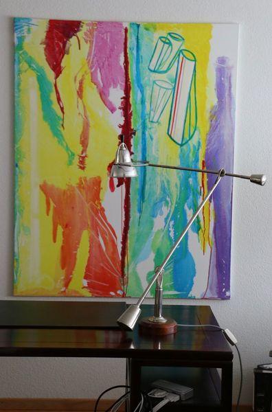 Figürliche elemente, Gelb, Violett, Abstrakt, Farbfeldmalerei, Moderne kunst