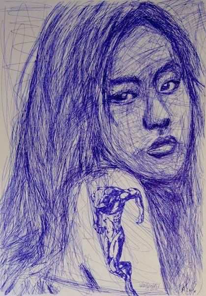 Mädchen, Tattoo, Frosch, China, Zeichnungen