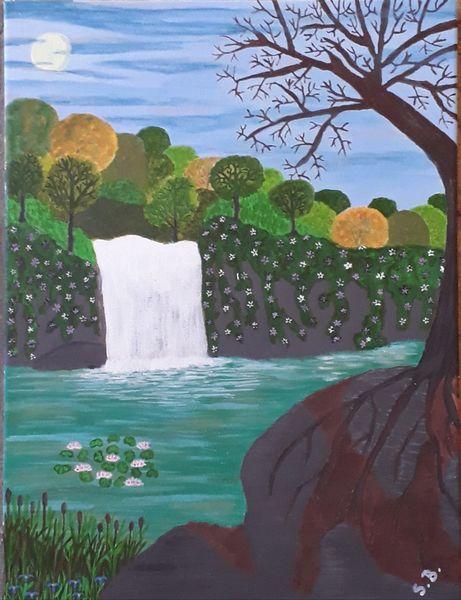 Landschaft, See, Wasserfall, Malerei, Mondschein