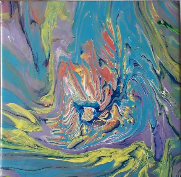 Gelb, Lila, Blau, Malerei, Abstrakt