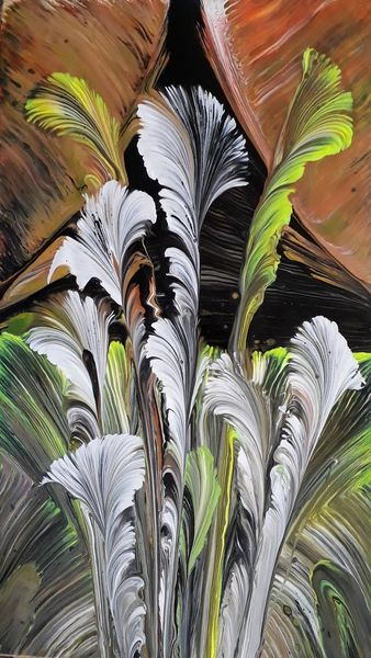 Gelb, Schwarz, Weiß, Malerei, Abstrakt