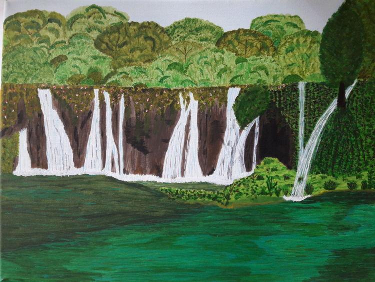 Landschaft, See, Wasserfall, Malerei