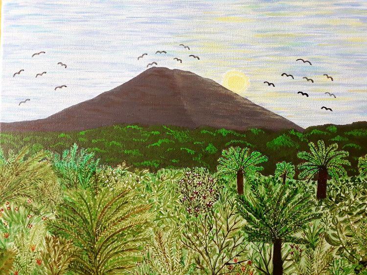 Baum, Landschaft, Malerei, Paradies