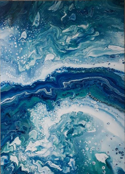 Türkis, Blau, Weiß, Malerei