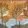 Wasser, Kranich, Baum, Malerei