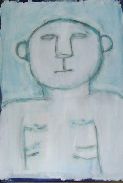 Figur, Person, Abstrakt, Gesicht, Mischtechnik