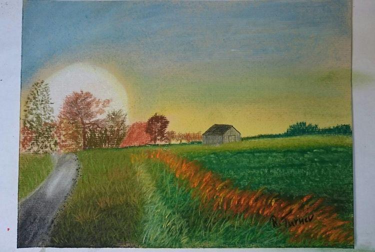 Sonnenuntergang, Moor, Feld, Malerei